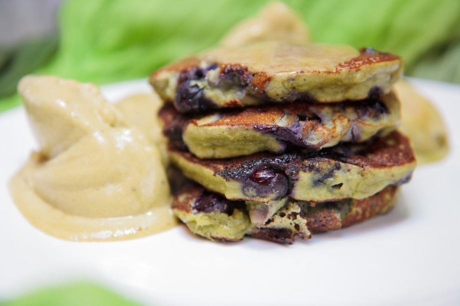 Mean Green Hemp Blueberry Pancakes with Banana Matcha Nice-Cream